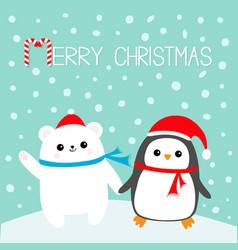 Merry christmas candy cane kawaii penguin bird vector