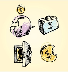 Money icons cartoon set vector image