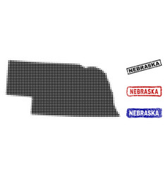 nebraska state map in halftone dot style with vector image