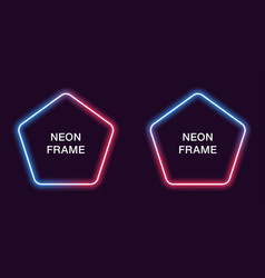 neon frame in pentagonal shape template vector image