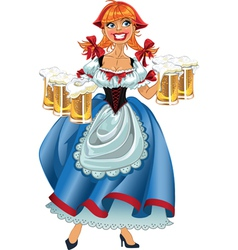 Octoberfest girl with beer vector