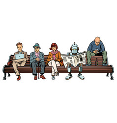 people and a robot sitting on a park bench vector image