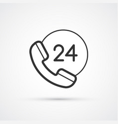 phone 24 support flat line icon eps10 vector image