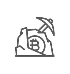 Pickaxe with stone bitcoin blockchain vector