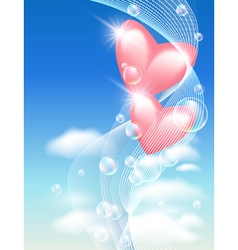 Pink hearts in the sky vector image
