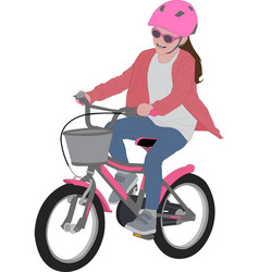preschooler girl riding bicycle detailed color vector image