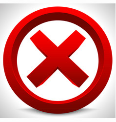 Red x button x shape letter sign ban quit exit vector