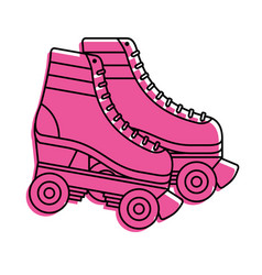 Retro roller skates wheels trendy vintage vector