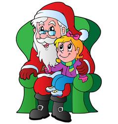 santa claus and small girl vector image