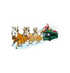 Santa Claus Driving Bus vector image