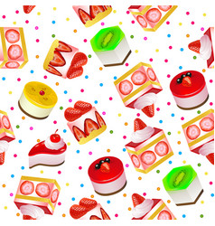 seamless background with fruit cakes and sweets vector image