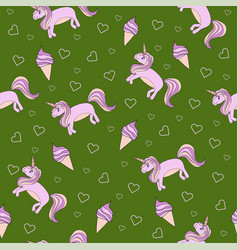 seamless pattern on a green background unicorn vector image