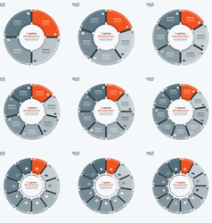 Set circle chart infographic templates with 4 vector