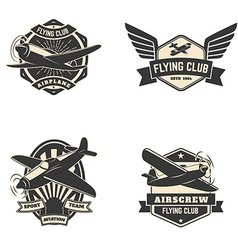Set flying club labels and emblems vector