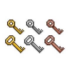 set of golden silver bronze pixel keys vector image