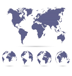 Set of strip world maps vector image