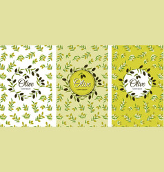 set olive seamless pattern branches with green vector image