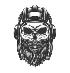 skull in the tank helmet vector image