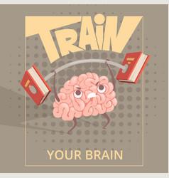 Sport brain poster cartoon mind making exercises vector