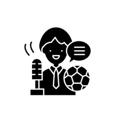 sports commentator black icon sign on vector image