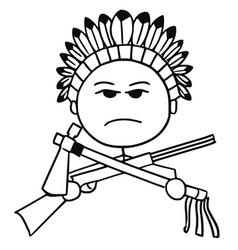 stickman cartoon of indian tribal chief vector image