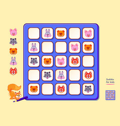 Sudoku for kids page for brain teaser book logic vector