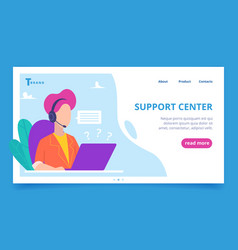 support service landing web business page person vector image
