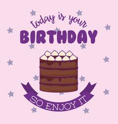 sweet cake birthday kawaii style vector image