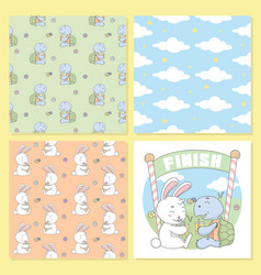 turtle and rabbit drink cloud seamless pattern vector image