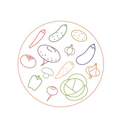 vegetarian menu made vegetables round logo vector image