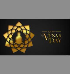 vesak day greeting card gold paper cut buddha vector image