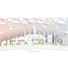 vienna austria city skyline in paper cut style vector image