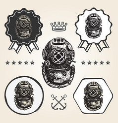 Vintage diving helmet icon flat web sign symbol vector