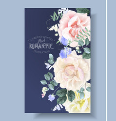 vintage floral border with garden roses vector image