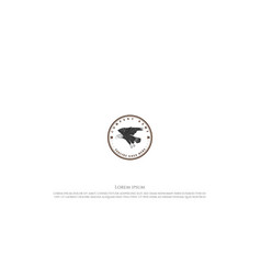 vintage retro flying eagle falcon hawk badge vector image