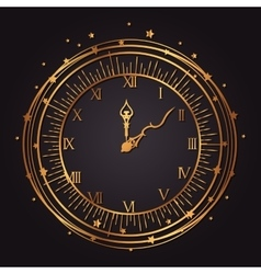 Vintage watch golden icon vector