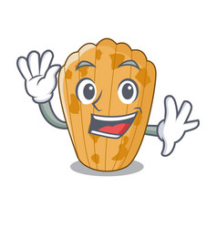 Waving cake madeleine french isolated on mascot vector