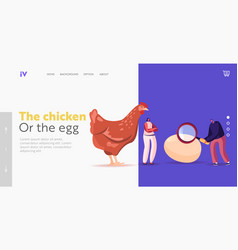 Which came first chicken or egg landing page vector