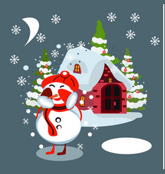 winter village background with snow covered houses vector image