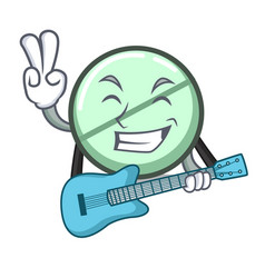 With guitar drug tablet mascot cartoon vector