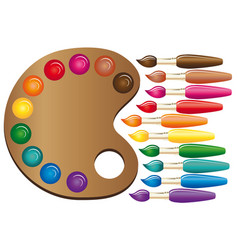 Wooden art palette with paints and brushes color vector