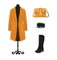 Yellow women set coat hat bag and boots vector