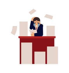 young businessman overworked with documents - male vector image