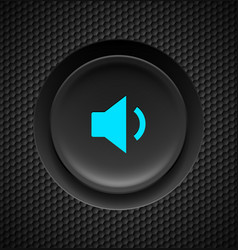 black button with blue sound sign on carbon vector image