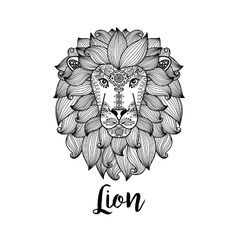 Black lion head with floral pattern vector image