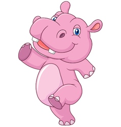 Cartoon cute baby hippo running and happy vector image