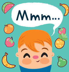 child-who-loves-to-eat-fruits vector image vector image