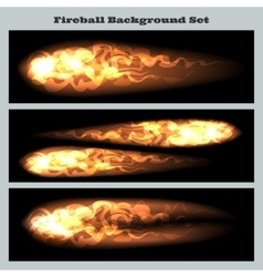 Fireball background set vector image