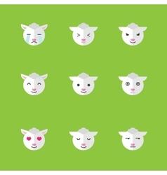 flat sheep emotions icon set vector image