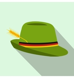 Green hat with a feather icon flat style vector image vector image